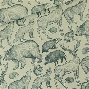 Picture of Forest Animals - L - French Terry - Aqua Gris